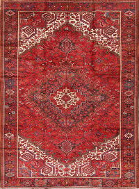 Vintage Geometric Heriz Persian Hand-Knotted 9x12 Red Wool Area Rug