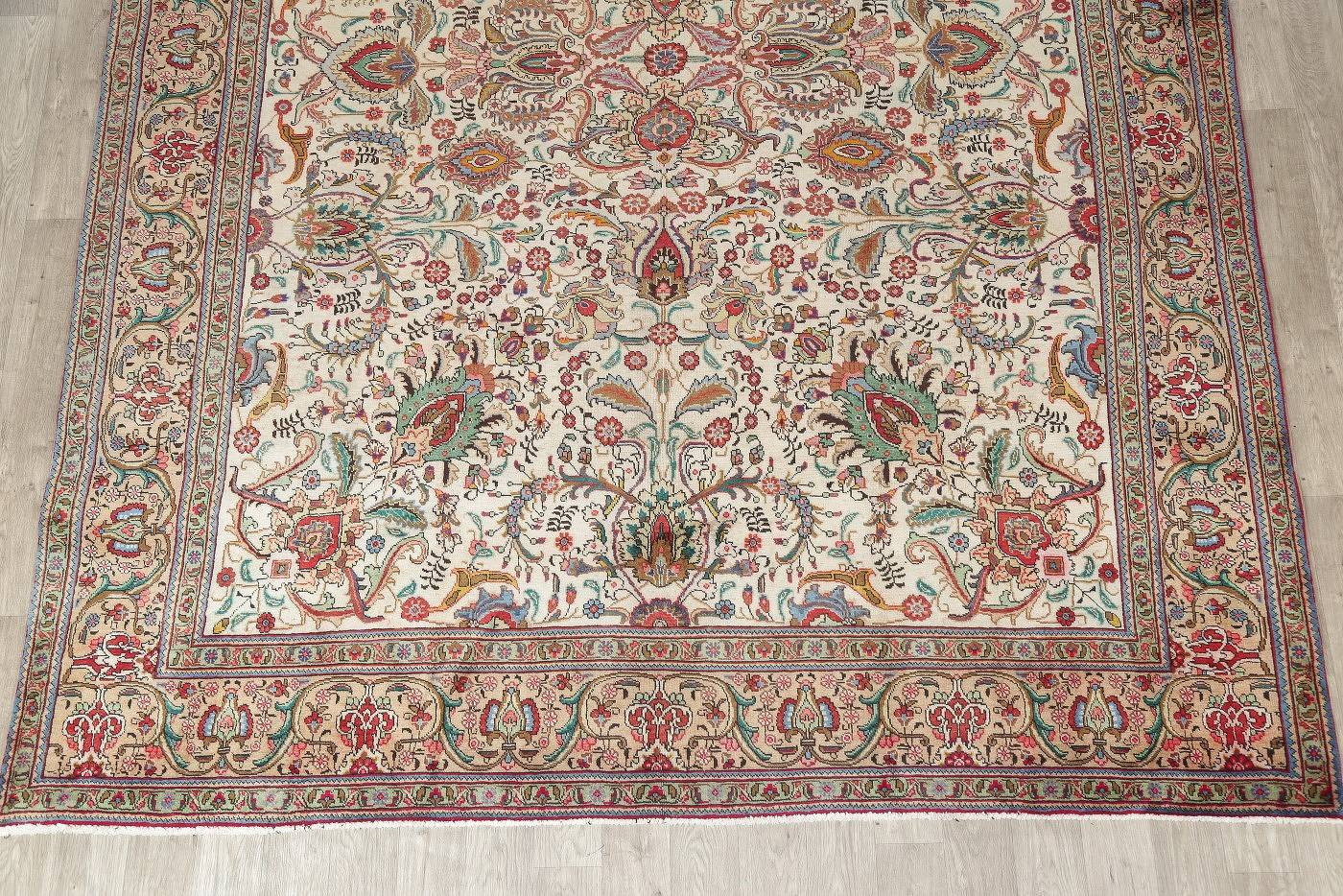 One-of-a-Kind All-Over Floral Tabriz Persian Hand-Knotted 9x12 Wool Area Rug
