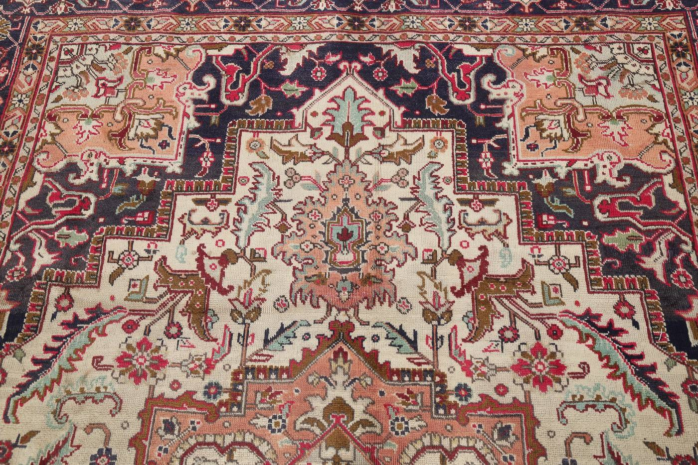 One-of-a-Kind Antique Heriz Serapi Persian Hand-Knotted 7x9 Wool Area Rug image 13