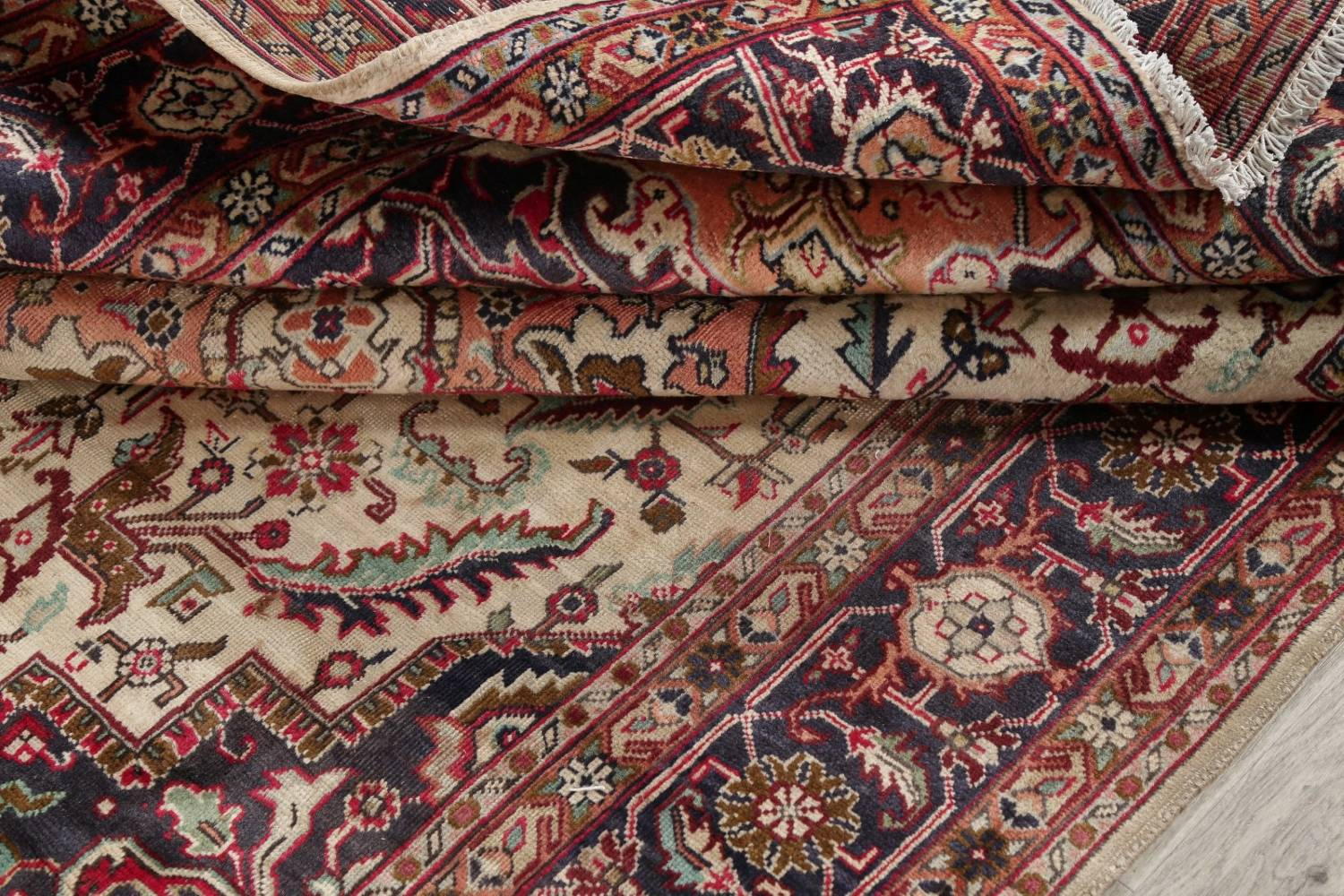 One-of-a-Kind Antique Heriz Serapi Persian Hand-Knotted 7x9 Wool Area Rug image 18