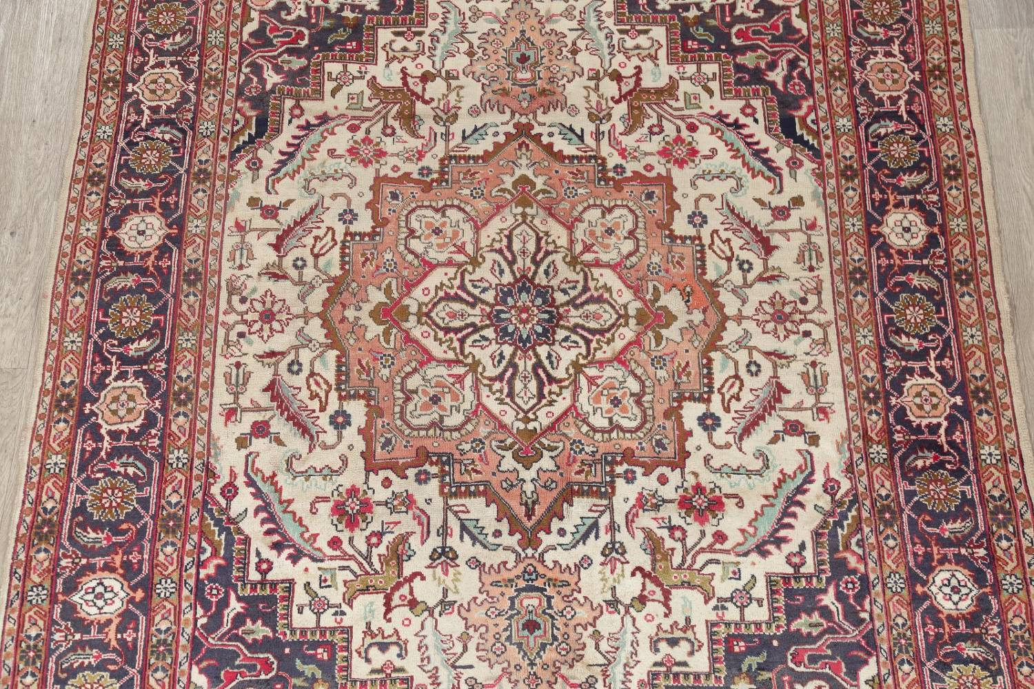 One-of-a-Kind Antique Heriz Serapi Persian Hand-Knotted 7x9 Wool Area Rug image 3