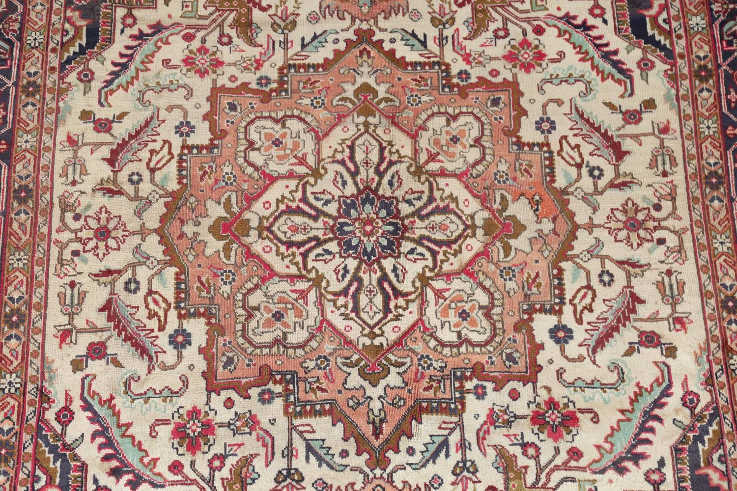 One-of-a-Kind Antique Heriz Serapi Persian Hand-Knotted 7x9 Wool Area Rug image 4
