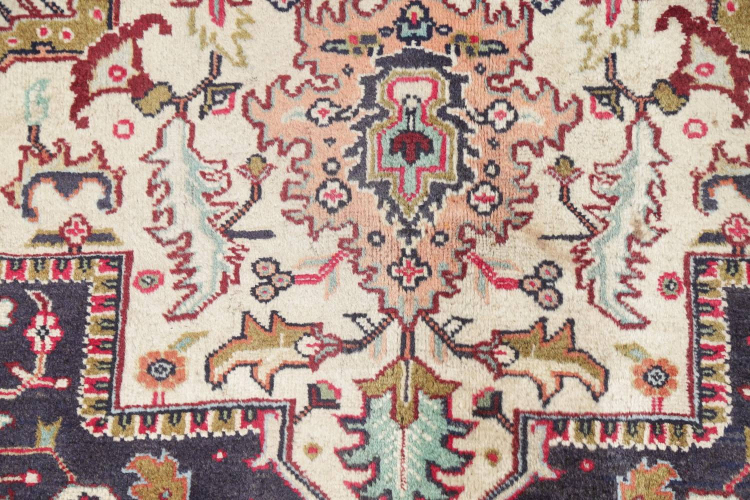 One-of-a-Kind Antique Heriz Serapi Persian Hand-Knotted 7x9 Wool Area Rug image 7