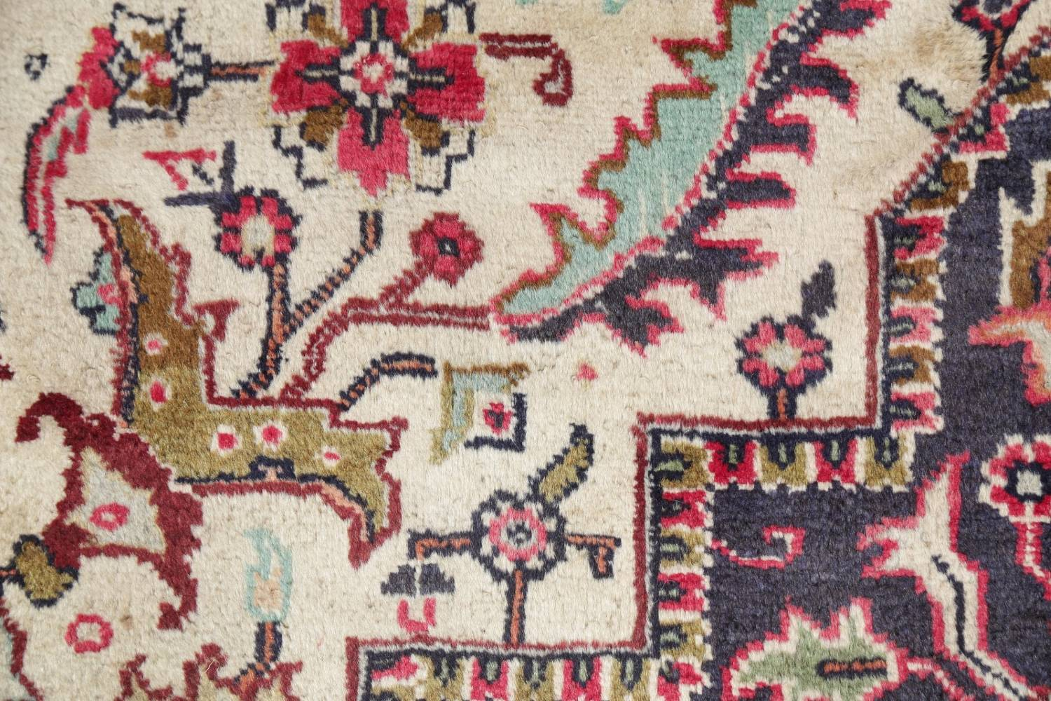 One-of-a-Kind Antique Heriz Serapi Persian Hand-Knotted 7x9 Wool Area Rug image 10