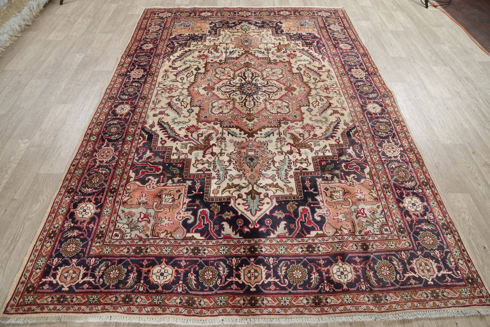One-of-a-Kind Antique Heriz Serapi Persian Hand-Knotted 7x9 Wool Area Rug
