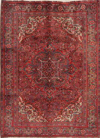 Traditional Floral Red Heriz Persian Hand-Knotted 7x9 Wool Area Rug