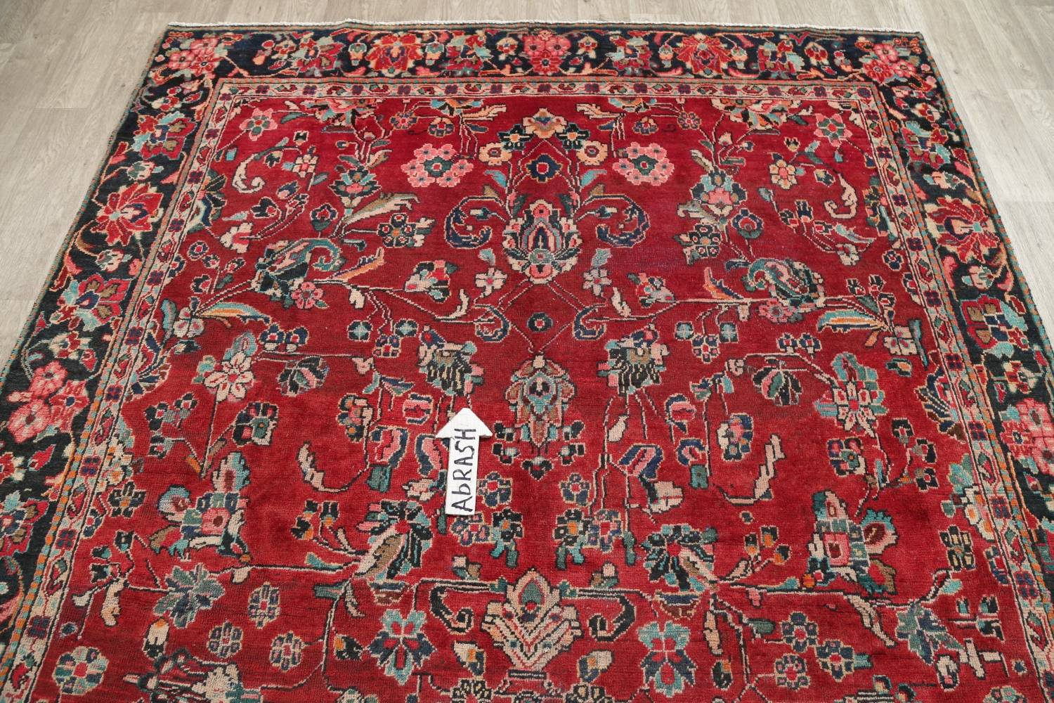 Antique All Over Floral Red Mahal Persian Hand Knotted