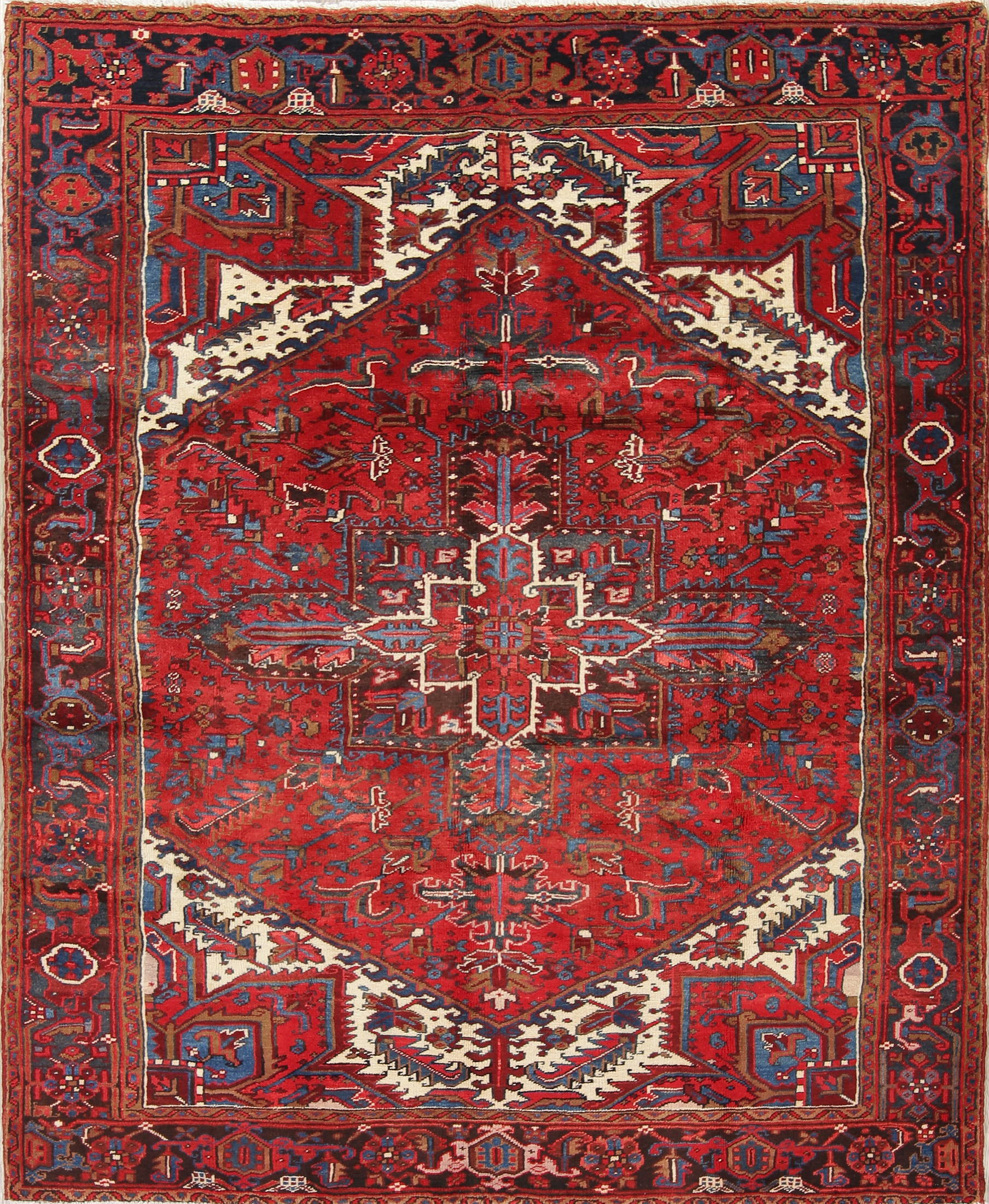 One Of A Kind Red Geometric Heriz Persian Hand Knotted 7x9 Wool Area Rug