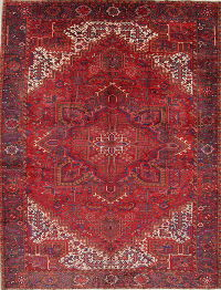 One-of-a-Kind Geometric Heriz Persian Hand-Knotted 10x13 Wool Area Rug