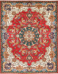 One-of-a-Kind Floral Red Tabriz Persian Hand-Knotted 10x13 Wool Area Rug