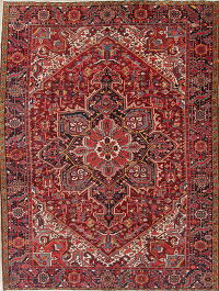 One-of-a-Kind Antique Geometric Heriz Persian Handmade 8x11 Wool Area Rug