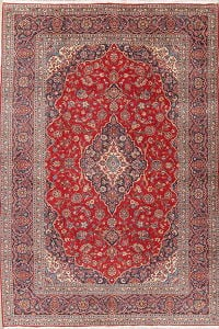 Traditional Floral Red Kashan Persian Hand-Knotted 9x12 Wool Area Rug