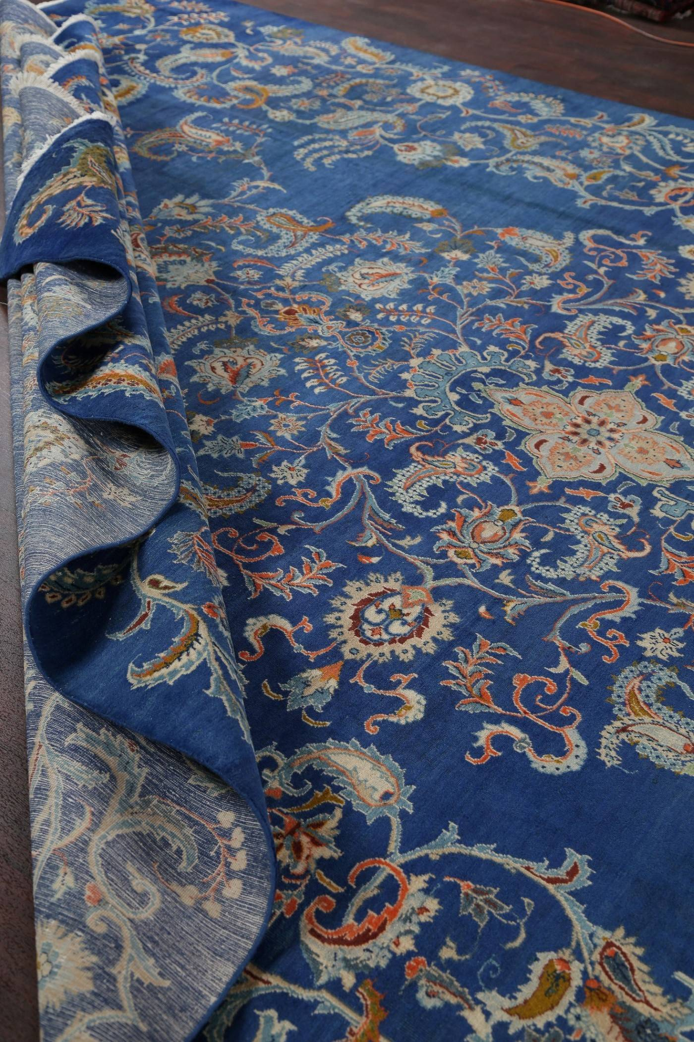 One-of-a-Kind Antique Sapphire Blue Floral Kashan Persian Hand-Knotted 11x18 Wool Rug