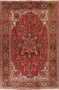 One-of-a-Kind Red Geometric Heriz Persian Hand-Knotted 8x11 Wool Area Rug