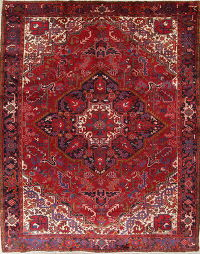 One-of-a-Kind Red Geometric Heriz Persian Hand-Knotted 10x13 Wool Area Rug