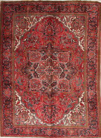 One-of-a-Kind Red Geometric Heriz Persian Hand-Knotted 7x10 Wool Area Rug