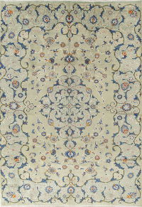 Sage Green Floral Kashan Persian Hand-Knotted 8x12 Wool Area Rug