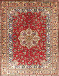 One-of-a-Kind Red Geometric Tabriz Persian Hand-Knotted 10x13 Area Rug