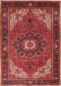 Red Geometric Heriz Persian 10x13 Wool Area Rug