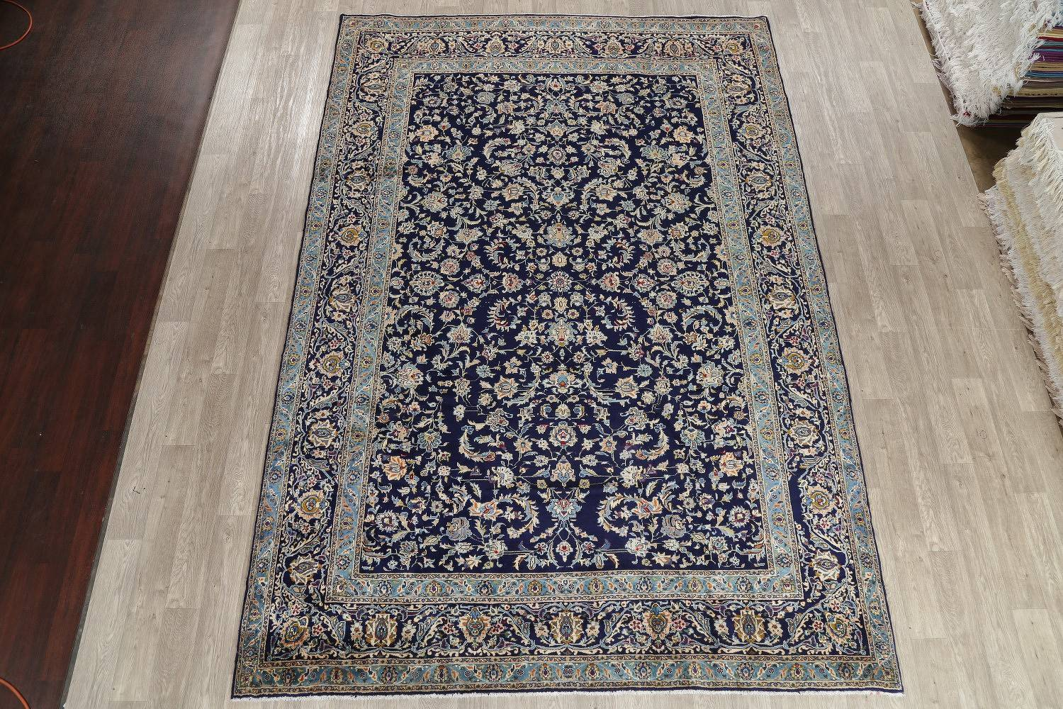 All-Over Floral Navy Blue Kashan Persian Hand-Knotted 8x12 Wool Area Rug