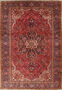 Red Geometric Heriz Persian Hand-Knotted 9x13 Wool Area Rug