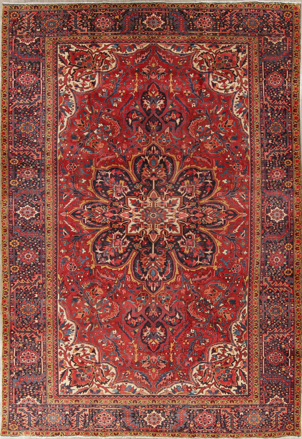 Red Geometric Heriz Persian Hand-Knotted 9x13 Wool Area Rug image 1