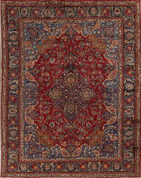 Red Geometric Mashad Persian Hand-Knotted 10x12 Wool Area Rug