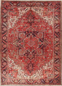 Red Geometric Heriz Persian Hand-Knotted 8x12 Wool Area Rug