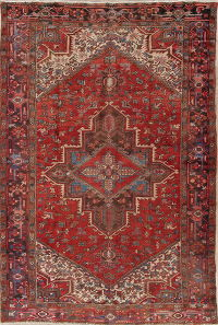 Antique Red Geometric Heriz Persian Hand-Knotted 8x11 Wool Area Rug