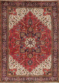 Red Geometric Heriz Persian Hand-Knotted 6x9 Wool Area Rug