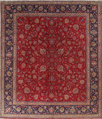 All-Over Floral Tabriz Persian Hand-Knotted 11x13 Wool Area Rug