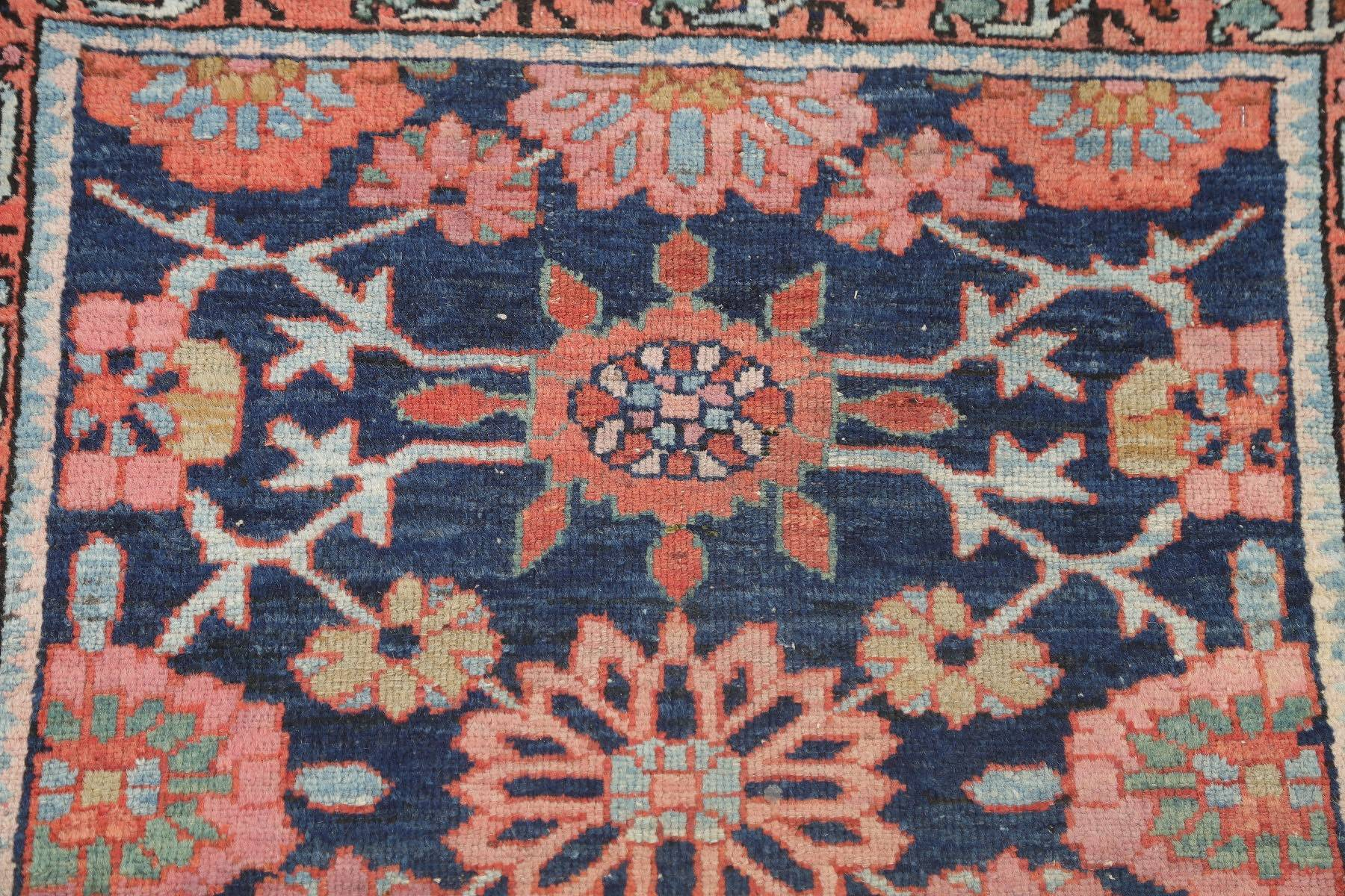 Antique Geometric Blue Malayer Persian Hand-Knotted 2x4 Wool Rug