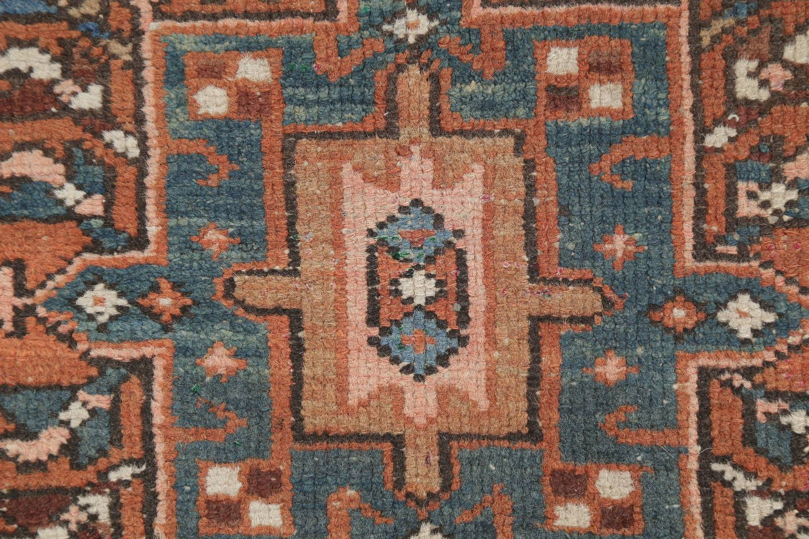 Antique Geometric Gharajeh Persian Hand-Knotted 2x4 Wool Area Rug