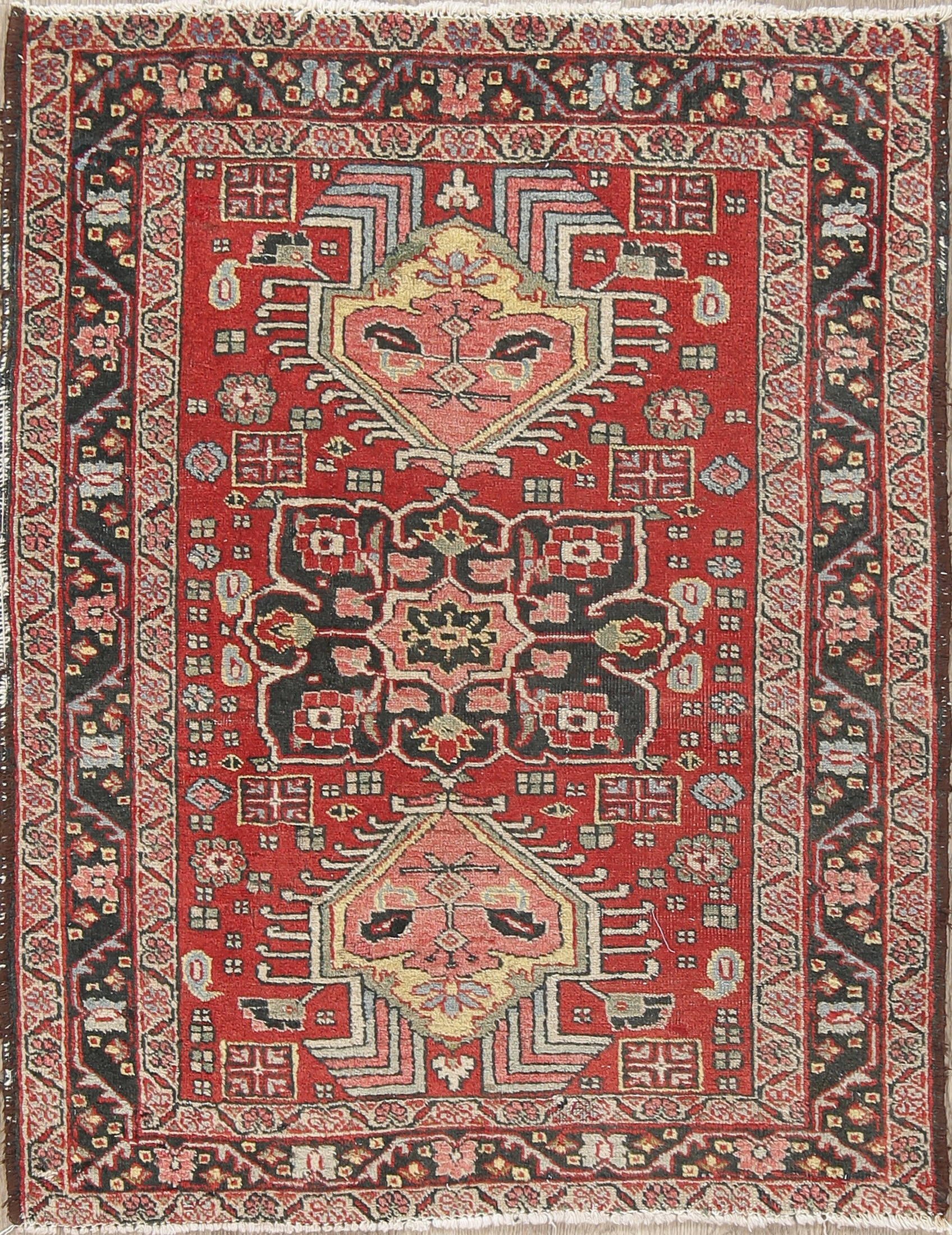 Antique Geometric Red Heriz Persian Hand-Knotted 3x4 Wool Rug