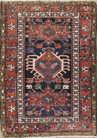 Antique Geometric Gharajeh Persian Hand-Knotted 3x4 Wool Rug