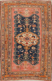 Pre-1900 Vegetable Dye Geometric Malayer Persian Handmade 4x6 Area Rug