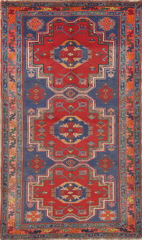 Geometric Red Kazak Russian Oriental Hand-Knotted 4x6 Wool Area Rug