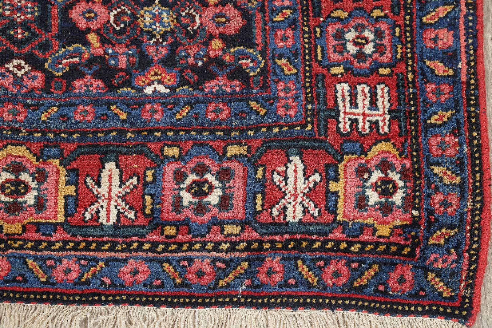 Vegetable Dye Antique Geometric Bidjar Persian Handmade 4x9 Wool Runner Rug