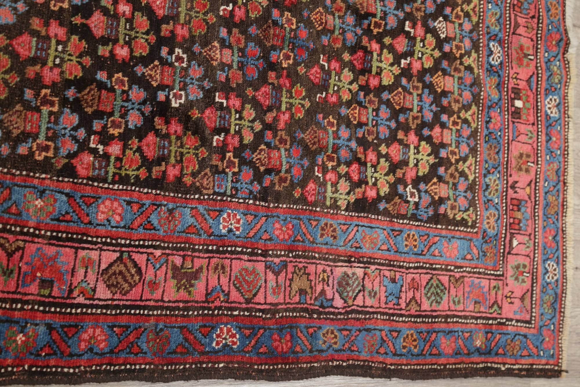 Pre-1900 Vegetable Dye Bidjar Persian Hand-Knotted 4x9 Wool Runner Rug