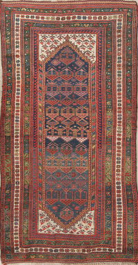 Vegetable Dye Antique Bidjar Persian Handmade 4x9 Wool Runner Rug