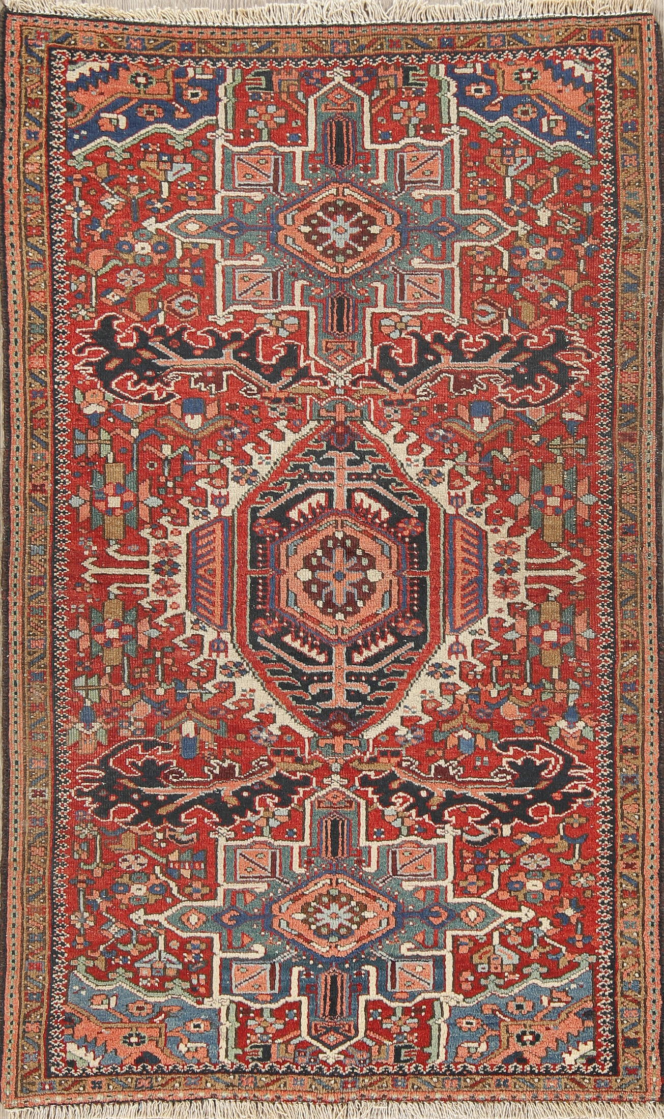 Vegetable Dye Antique Tribal Gharajeh Persian Hand-Knotted 3x5 Wool Rug