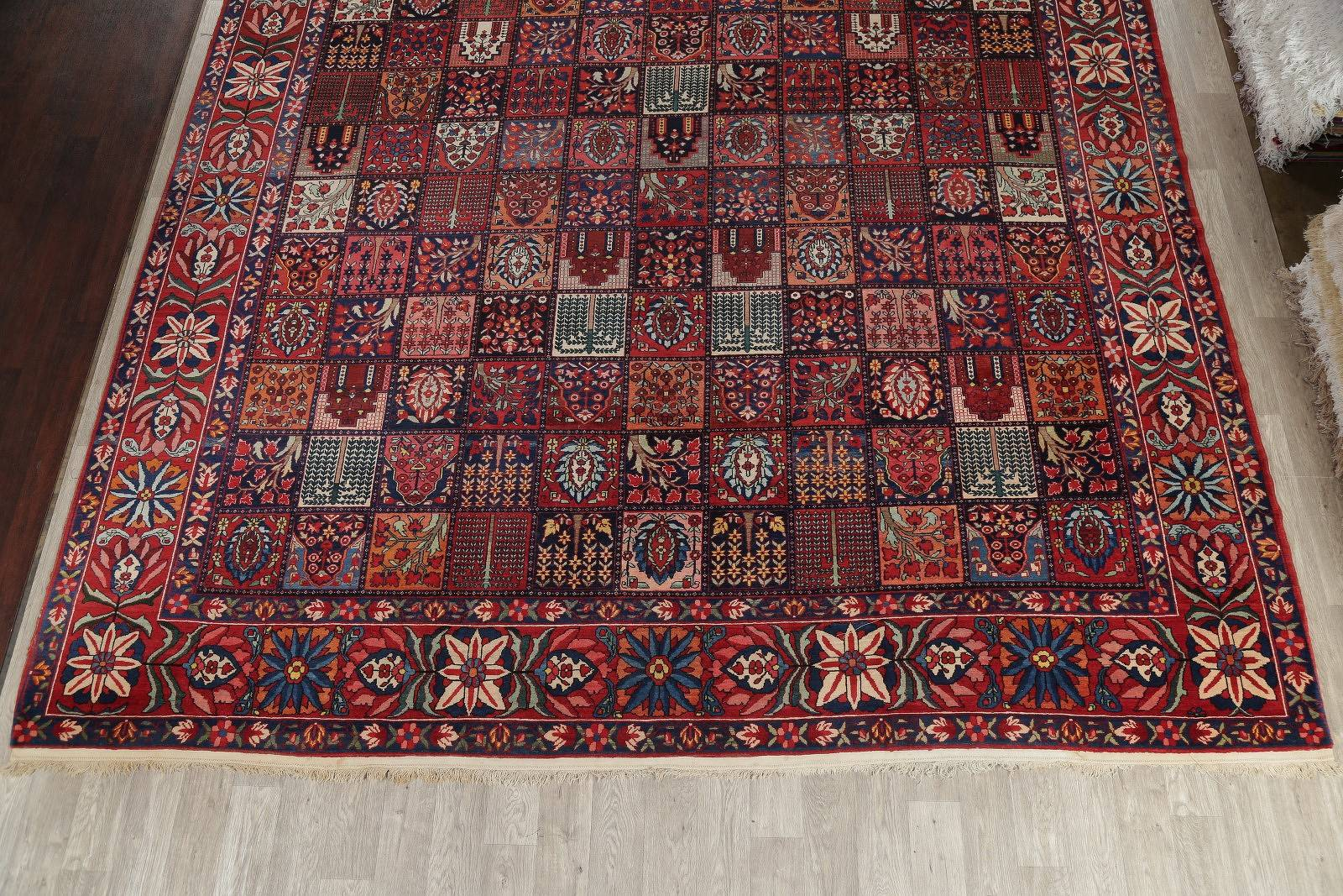 Vegetable Dye Antique Garden Design Bakhtiari Persian Handmade 12x17 Wool Rug