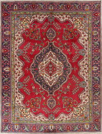 Floral Red Tabriz Persian Hand-Knotted 9x12 Wool Area Rug
