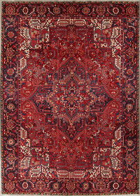 Red Geometric Heriz Persian Hand-Knotted 10x14 Wool Area Rug
