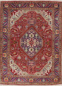 Red Geometric Tabriz Persian Hand-Knotted 8x11 Wool Area Rug