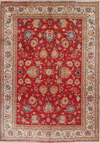 All-Over Floral Kashmar Persian Hand-Knotted 8x11 Wool Area Rug