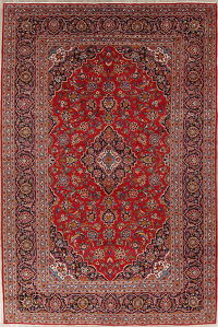 Traditional Floral Kashan Persian Hand-Knotted 9x14 Wool Area Rug