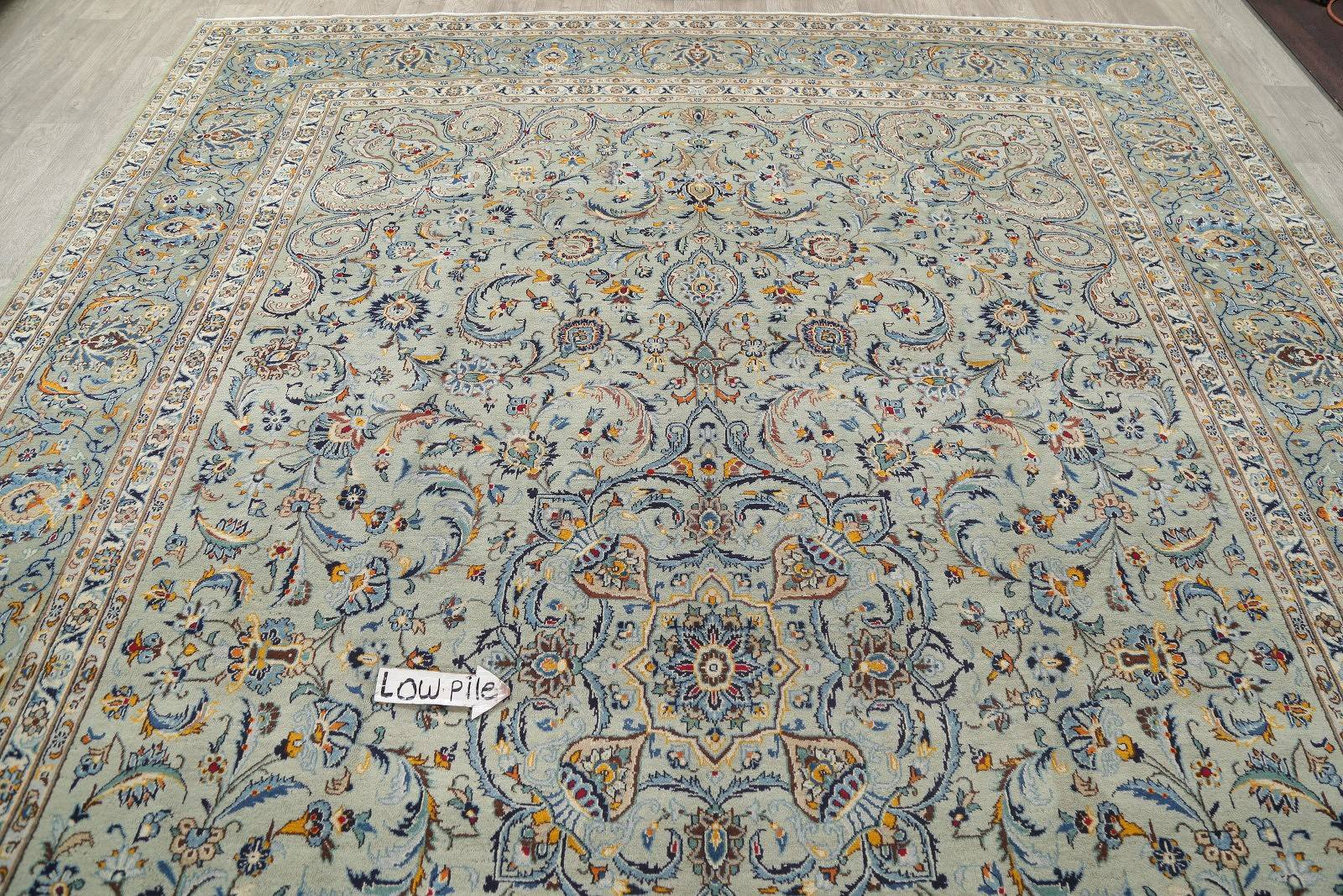Floral Green Kashan Persian Hand-Knotted 10x14 Wool Area Rug