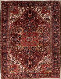 Vegetable Dye Geometric Heriz Persian Hand-Knotted 11x14 Wool Rug