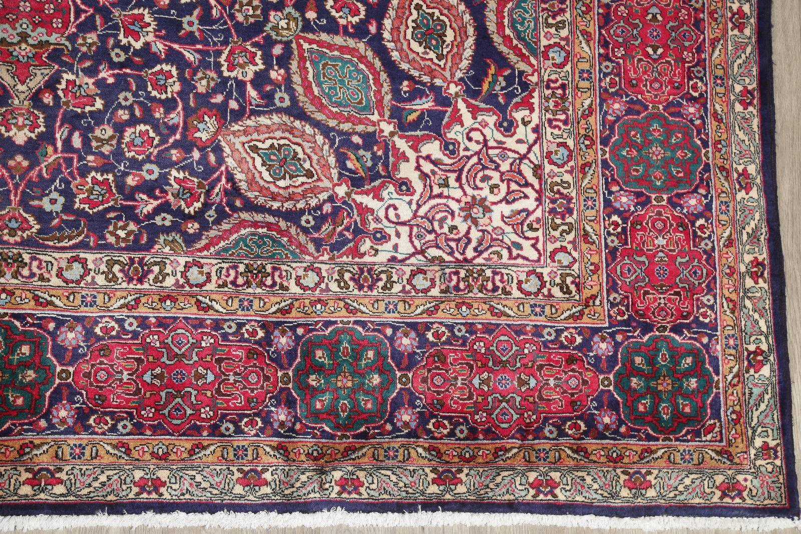 Floral Navy Blue Tabriz Persian Hand-Knotted 9x13 Wool Area Rug